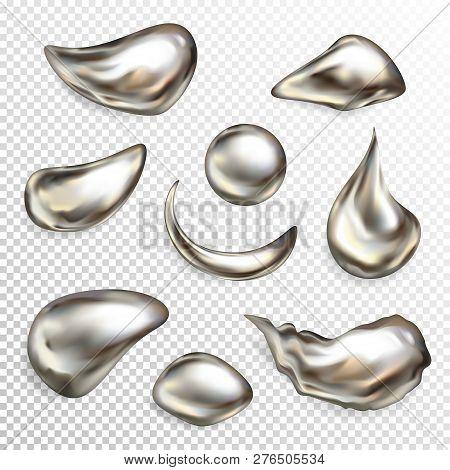 Metal Silver Droplets Illustration Of