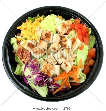 Picture or Photo of Fast food salad with grilled chicken, lettuce, tomato, cheese.  Shot with the Canon 20D.