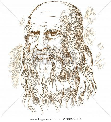 Hand Drawn Vector Portrait Leonardo