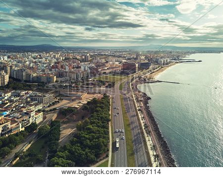poster of Aerial Panorama Palma De Mallorca Cityscape. Urban Scene With Roads Along Palm Tree Lined Seafront T