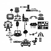 Urban Recreation Park Icons Set. Simple Set Of 25 Urban Recreation Park Icons For Web Isolated On Wh poster