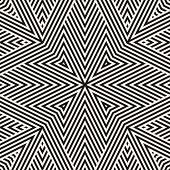 Vector Geometric Lines Pattern. Modern Seamless Ornament. Black And White Linear Background With Str poster