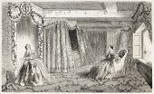 Empress eugenie bedroom aboard of La Bretagne. Created by Lebreton, published on L'Illustration, Journal Universel, Paris, 1858