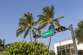 Street Sign Of Famous Street Ocean Drive In Miami South Beach poster