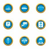 Reliable Parking Icons Set. Flat Set Of 9 Reliable Parking Icons For Web Isolated On White Backgroun poster