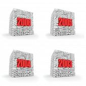 New year 2006, 2005, 2004, 2003. Cube consisting of the numbers. 3d