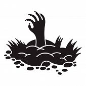 Zombie Ground Hand Icon. Simple Illustration Of Zombie Ground Hand Icon For Web Design Isolated On W poster