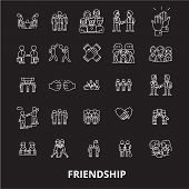 Friendship Editable Line Icons Vector Set On Black Background. Friendship White Outline Illustration poster