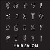 Hair Salon Editable Line Icons Vector Set On Black Background. Hair Salon White Outline Illustration poster