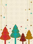ein Vektor Weihnachten & Neujahr Karte mit bunten Baum, Schneeflocken und Sternen für Weihnachten & andere Occ