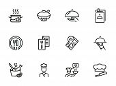 Restaurant Service Line Icon Set. Set Of Line Icons On White Background. Menu, Stewpan, Plate, Chef. poster