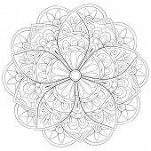 Adult Coloring Book,page A Zen Mandala Image For Relaxing.zen Art Style Illustration. poster