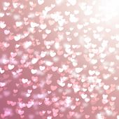 Pink Blurred Background With Hearts For Valentines Day, Glitter, Holiday, Romance, Gradient poster