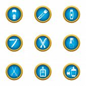 Clipping Icons Set. Flat Set Of 9 Clipping Icons For Web Isolated On White Background poster