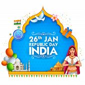 Lady In Tricolor Saree Of Indian Flag For 26th January Happy Republic Day Of India poster