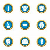 Toned Body Icons Set. Flat Set Of 9 Toned Body Icons For Web Isolated On White Background poster