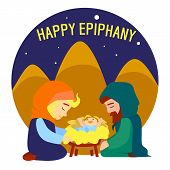 Happy Epiphany Jesus Birth Concept Background. Cartoon Illustration Of Happy Epiphany Jesus Birth Co poster