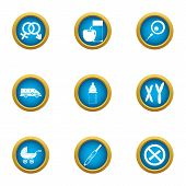 Pedigree Icons Set. Flat Set Of 9 Pedigree Icons For Web Isolated On White Background poster
