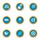 Pedigree Icons Set. Flat Set Of 9 Pedigree Icons For Web Isolated On White Background poster