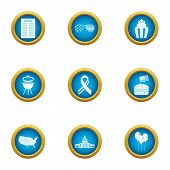 Street Barbecue Icons Set. Flat Set Of 9 Street Barbecue Icons For Web Isolated On White Background poster