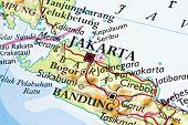 Jakarta on a map