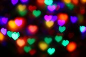 Valentines Red Heart-shaped On Black Background Colorful Lighting Bokeh For Decoration At Night Back poster
