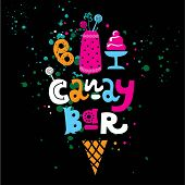 Hand-drawn Lettering Text Candy Bar With Sweets, Cake And Waffle Cone. Vector Flat Logo For Candy Sh poster