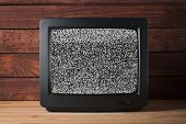 Old Vintage Tv Set Televisor On Wooden Table Againt Dark Wooden Wall Background With No Signal Telev poster