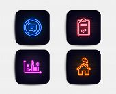 Neon Glow Lights. Set Of Checklist, Survey Results And Stop Talking Icons. Home Sign. Survey, Best A poster