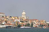 View on Lisbon with the river Tagus in Portugal