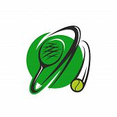 Tennis Sport Round Symbol With Ball And Racket. Flying Tennis Ball And Racket Green Icon For Tennis  poster