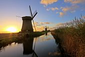 Traditonal windmill in the countryside from the Netherlands at twilight