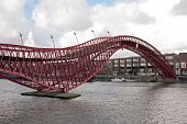 Pedestrian bridge in Amsterdam innercity in the Netherlands