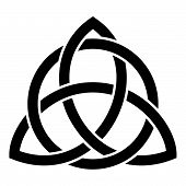Triquetra In Circle Trikvetr Knot Shape Trinity Knot Icon Black Color Vector Illustration Flat Style poster