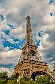 Eiffel Tower At Sunset In Paris, France. Hdr. Romantic Travel Background. Eiffel Tower Is Traditiona poster
