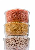 picture of urad  - Grains pulses and beans in bowl isolated over white over - JPG
