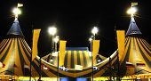 picture of circus tent  - Yellow and Blue Circus tent at night - JPG