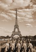 Eiffer Tower From Trocadero Quartier And The Cannons With Sepia Toned Effect poster