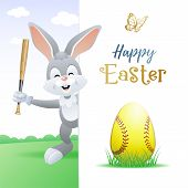 Happy Easter. Sports Greeting Card. Cute Rabbit With Softball Egg And Bat. Vector Illustration. poster