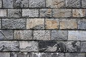 image of fieldstone-wall  - Old grunge stone wall close up photo - JPG