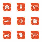 Scientific Adviser Icons Set. Grunge Set Of 9 Scientific Adviser Icons For Web Isolated On White Bac poster