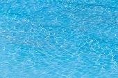 Blue Ripped Water In Swimming Pool With Sunny Reflections. poster