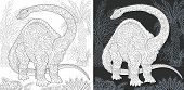 Coloring Page. Dinosaur Collection. Colouring Picture With Brontosaurus Drawn In Zentangle Style. poster