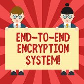 Conceptual Hand Writing Showing End To End Encryption System. Business Photo Showcasing Method Used  poster