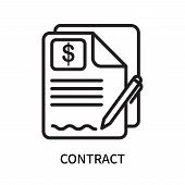 Contract Icon Isolated On White Background. Contract Icon Simple Sign. Contract Icon Trendy And Mode poster