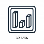 3d Bars Icon Isolated On White Background. 3d Bars Icon Simple Sign. 3d Bars Icon Trendy And Modern  poster
