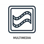 Multimedia Icon Isolated On White Background. Multimedia Icon Simple Sign. Multimedia Icon Trendy An poster