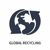 Global Recycling Icon Isolated On White Background. Global Recycling Icon Simple Sign. Global Recycl poster