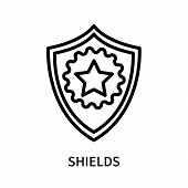 Shields Icon Isolated On White Background. Shields Icon Simple Sign. Shields Icon Trendy And Modern  poster