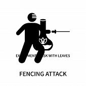 Fencing Attack Icon Isolated On White Background. Fencing Attack Icon Simple Sign. Fencing Attack Ic poster